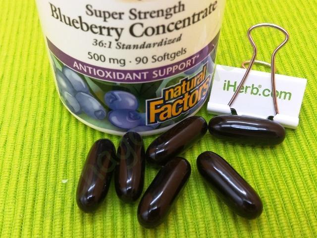 Natural Factors, BlueRich, суперсила, концентрат черники, 500 мг