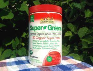 Country Farms, Super Greens, сертифицированная органическая формула из цельных продуктов, вкусный ягодный аромат, 10,6 унц. (300 г)